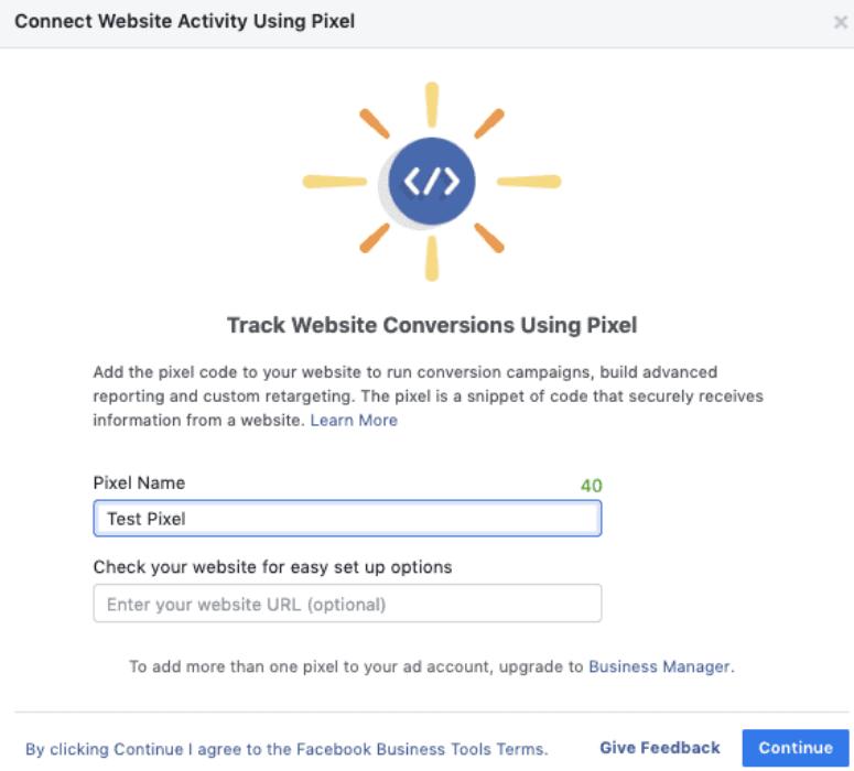 Connecting website to Facebook pixel