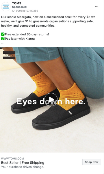 TOMS Facebook Ad Example