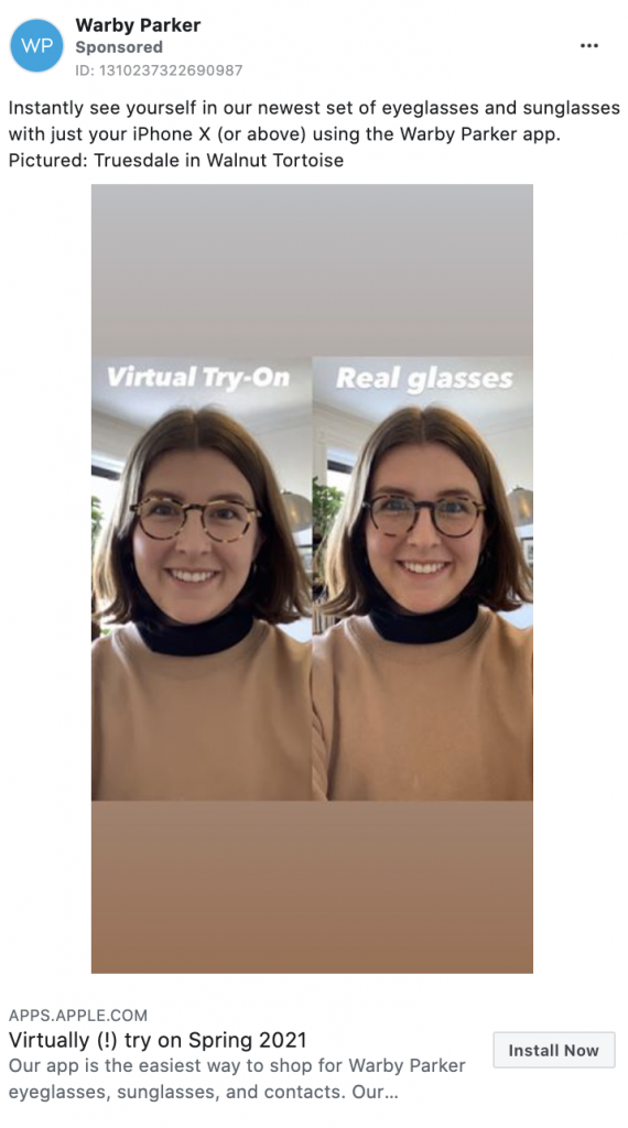 Warby Parker Facebook Ad Example